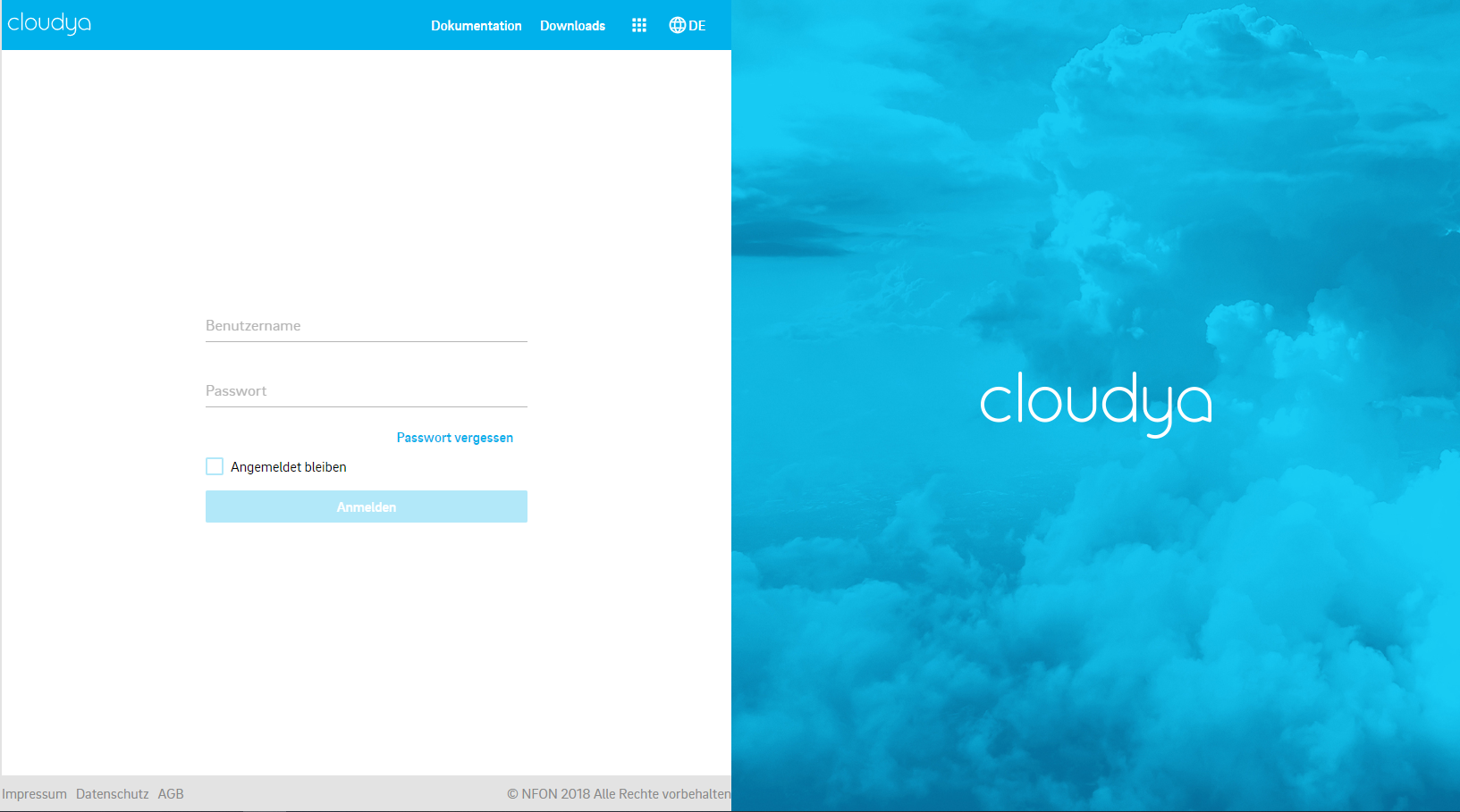 Cloudya Login Screenshot